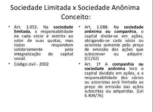 Diferenças práticas entre sociedade limitada, sociedade anônima ...